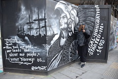 DSC_2830 Shoreditch London Great Eastern Street They Teach us what they want. They took our Gold our Lands and Slave our People None Discovery US... Illegal Immigration Started in 1492. @Sir92art Voyages of Christopher Columbus with Nikkie from Philadelph (photographer695) Tags: london shoreditch great eastern street artwork with nikkie from philadelphia they teach us what want took our gold lands slave people none discovery illegal immigration started 1492 sir92art voyages christopher columbus