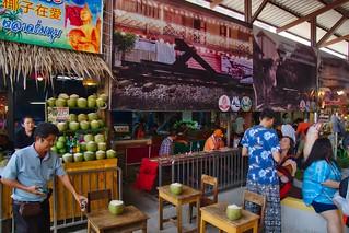 Mae Klong railway market near Amphawa in Samut Songkhram province, Thailand