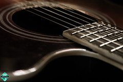 Six Strings of Harmony (shamahzoha) Tags: guitar strings closeup macro colors bland gloomy fret red round circle wooden