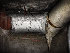 """""""Bare"""" Asbestos Magnesia Pipe Insulation (Asbestorama) Tags: asbestos acm inspection survey assessment hazard risk exposure damage lagging mechanical thermal system pipe insulation tsi magnesia mag"""