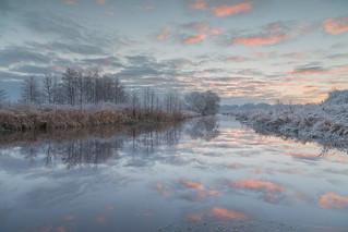 Sonnenaufgang an der Wümme Nordarm in Fischerhude