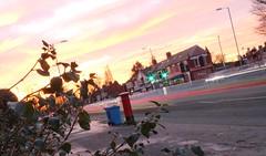 Red light, Green light...... (daveandlyn1) Tags: letterbox bluewheeliebin road trafficlights houses shops redlights whitelights streetlights foliage redskiesatnight iii f3556 efs1855mm 1200d eos canon