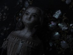 YUELIANG_slit-head wax doll_1820 (leaf whispers) Tags: eerie ambrotype fashion photo anne ann queen melancholy melancholia mourning shadows shadow chiaroscuro evil haunting sinister horror loss grief decay mori memento death georgian edwardian head sale for auction slithead slit lady witch ghost spirit haunted mache paper papier montanari alice mad distressed entropy 1800 century 19th victorian real hair human crazing cracked toy obsolete weird bizarre scary creepy antique doll wax