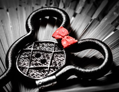 Buttons and Bows from Disneyland! (bharathputtur122) Tags: mondays buttonsandbows macromondays disney pencil mini mouse bow button texture selective red bichrome flash speedlight nikon d750 105mm nikkor sweet memory mickey