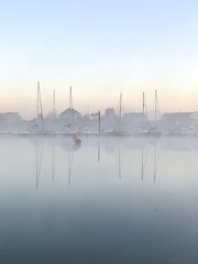Dawn at the Duver, IOW (sazzyo) Tags: landscape perfectescapes nikon dawn seascape water fog misty reflectionsinwater reflectionsonwater isleofwight yachts boats reflections