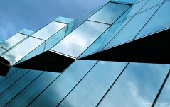 Blue Windows (manxmaid2000) Tags: blue glass building architecture reflection abstract angle window dublin ireland geometric lines turquoise exterior modern sky cloud city diagonal surreal perspective irish geometry pane