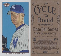 2002 Topps 206 Mini Baseball Card / Series 1 / Cycle - BRIAN ROGERS / FYP #147 (Pitcher) (New York Yankees) (Treasures from the Past) Tags: series1 series2 series3 2002 2003 topps 206 topps206 baseball polarbear sweetcaporalred sweetcaporalblack cycle carolinabrights blackpiedmont redpiedmont uzit masterset sweetcaporal sweetcaporalblue blue mini redtolstoi blacktolstoi card minicard baseballcard 2002topps206 t206 brianrogers newyorkyankees pitcher minorleague
