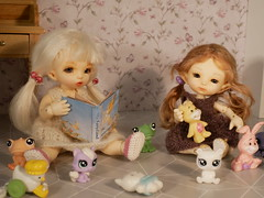 Storytime. Thumbelina is making up a story about fairies while Frida listens intently, with all the toys out... (steen76) Tags: littlestpetshop titi realpuki ante pukipuki tiny bjd fairyland