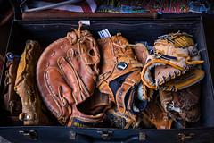 Baseball Gloves (King Grecko) Tags: america iconic newyork usa americana baseball fashion fielder fleamarket glove history leatherglove memorabilia mitt mitten pastime pitcher sport sports style vintage brooklynfleamarket brooklyn flea