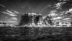 Monochrome Alien Landscape (November 2017 #4) (Lazlo Woodbine) Tags: 3d blender model modelling landscape terrain mapping lake water seascape november 2017 learning skills hdr luminancehdr lightroom photoshop manipulation digitalart art arty fake notquitethere rocky rockys desert
