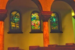 Buffalo - New York - The First Presbyterian Church ~  Pilars and Stain Glass Windows ~ Tiffany