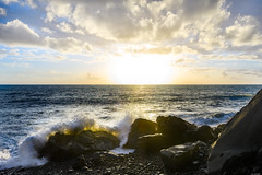 Bursting wave (Rico the noob) Tags: dof rock landscape sunset nature d500 outdoor madeira stones clouds sun 1120mm ocean sea travel water golden wave sky published 2017 coast beach 1120mmf28