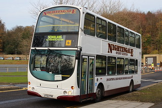 NIGHTINGALE LF02PVK IS SEEN AT COUNTY HALL, DURHAM ON 19 NOVEMBER 2017 ON COACH PARK SHUTTLE DUTIES IN CONNECTION WITH THE DURHAM LUMIERE FESTIVAL