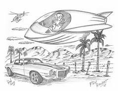 FSU Rocket (rod1691) Tags: bw scifi grey concept custom car retro space hotrod drawing pencil h2 hb original story fantasy funny tale automotive art illistration greyscale moonpies sketch sexy