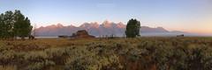 Frontier (gregoryphoto150) Tags: teton grandtetonnp grandteton grand mountains barn mormon row mountain field trees dawn sunrise frontier homestead range national park wyoming jackson