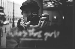 I am. (Aleksander Kalka Photographiti) Tags: città city miasto stolica capitale capital nero bianco weiss schwarz białe biale czarno white black blackwhite film wide f2d d f2 35mm nikkor f100 nikon auto ritratto autoritratto portret portrait self odbicie riflesso reflection lustro spiegel specchio mirror fotografia photography strada ulica warschau varsavia warszawa street warszawski rollei superpan 200
