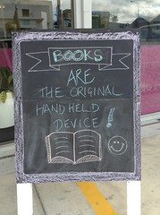"""""""Books are the original hand held device"""" (Christchurch City Libraries) Tags: chalkboard quotes centrallibrarymanchester"""