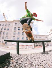 Crooked transfer (Juha Helosuo) Tags: skateboarding crooked grind transfer popout pop style berlin germany travel skateboard skate life fisheye rail street canon photography