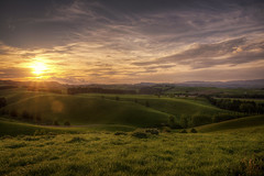 Warm Canterbury Sunset (Kevin_Jeffries) Tags: nature meadow pasture sheep hills cloud newzealand nikon d800 nikkor kevinjeffries valley southcanterbury canterbury green spring light sunlight southisland rural home gold