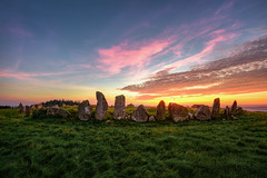 """""""Beltany Standing Stone Circle"""" – Ancient Mystery of Donegal (Gareth Wray - 10 Million Views, Thank You) Tags: ancient pagan druid druids stone circle standing stones sunset worship monument monuments raphoe county donegal ireland landscape tourist tourism site visit scenic landmark sun set red blue sky summer country side countryside nikon d810 nikor lens gareth wray photography strabane tyrone irish wild atlantic way eire rock rocks granite field national trust colourful clear day horizon bronze age historic famous attraction cloudy photographer vacation europe neolithic outdoor grassland grass plant 1424mm"""