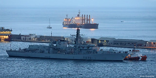 Royal Navy Type 23 Frigate HMS Monmouth (F235) departing HM Naval Base, Gibraltar