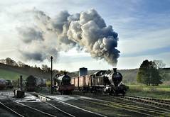4277 passes the loco yard at Cheddleton with a goods train. (johncheckley) Tags: d90 locomotive uksteam steam goodstrain