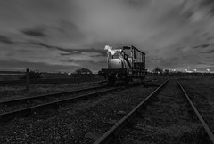 Smoke Without Fire (Rob Pitt) Tags: light painting old train car burnt out frame tracks moonlit moon wirral burton decay 750d railroad locomotive grass sky vape smoke