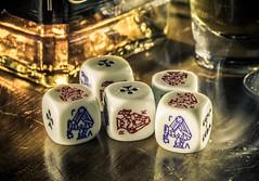 Full house (grbush) Tags: games macromondays gamesorgamepieces memberschoicegamesorgamepieces macro poker gambling bourbon whiskey alcohol dice pokerdice sonya7 tamronaf90f28disp closeup hmm