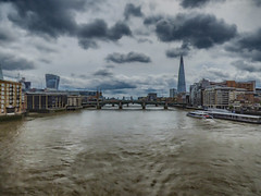 In the Middle of London (Steve Taylor (Photography)) Tags: millenium london tower bridge shard walkietalkie thames riverboatcruise architecture digital art muted water river uk gb england greatbritain unitedkingdom perspective spring boat cloud sky