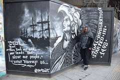 DSC_2828 Shoreditch London Great Eastern Street They Teach us what they want. They took our Gold our Lands and Slave our People None Discovery US... Illegal Immigration Started in 1492. @Sir92art Voyages of Christopher Columbus with Nikkie from Philadelph (photographer695) Tags: london shoreditch great eastern street artwork with nikkie from philadelphia they teach us what want took our gold lands slave people none discovery illegal immigration started 1492 sir92art voyages christopher columbus