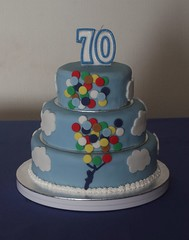 70th Birthday Cake (terencepkirk) Tags: fondant food cake canon 550d desserts delicious chocolate birthday balloon tier clouds