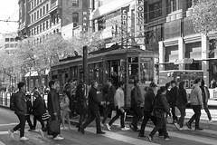 Downtown (Jay Pasion) Tags: jaypasion nikon d7500 downtown sanfrancisco california bayarea 35mm people bnw blackandwhite bw street train streetcar