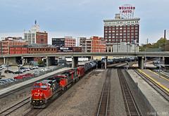 "Westbound Unit Train in Kansas City, MO (""Righteous"" Grant G.) Tags: cn canadian national train trains railroad railway bnsf ge emd power locomotive west westbound unit tank car kansas city missouri"