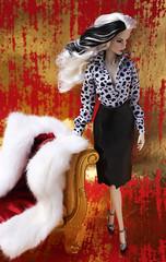 Fashionably Ruthless (Suburban Tabby) Tags: fashionablyruthless cruelladevil 2017 convention fashionfairytale 101dalmatians doll fashiondoll fashionroyalty