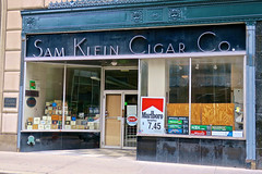 Sam Klein Cigar Co., Cleveland, OH (Robby Virus) Tags: cleveland ohio oh sam klein cigar co company sign signage art deco store business window display convenience tobacco smoke cigars