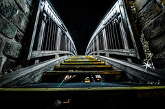 Bridge (Matthew Brown 7) Tags: symmetry aspley footbridge striplights steps railings nikond7000 sigma1020mmf456 longexposure nightphotography outside