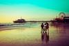 beach walk (Karol Franks) Tags: santamonica california beach reflection pier autumn lowtide ferriswheel socal bicycle colorful sunset