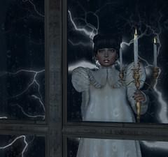 (ilkes Second Life) Tags: lightning dark night thunder candle window nightdress