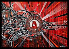 * Bloody Yuti * (-ABLOK-) Tags: tag graff graffiti toile canvas abstrait yuti ablok red rouge spray peinture bombe aérosol acrylique pinceau coulure pochoir calligraphie calligraphy ligne courbe design déco mur personnage marqueur