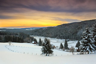 December Sunrise over the mountain lake