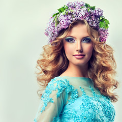 Beautiful model of flowers lilac ,with curly long hair. (ЕленаЛысяная) Tags: makeup cosmetics fashion beauty model face hair hairstyle wreathclip accessories dress lilac flowers smile curlyhair color purple curls magenta curl fun girl lips longhair petals glamorous sale eyelashes colorful beautiful summer spring blossom fresh scent fragrance perfume lady woman bouquet happiness cheerful watch style design bright makup russianfederation
