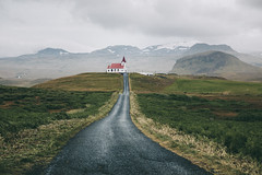 Ingjaldshólskirkja (desomnis) Tags: snæfellsnes snaefellsnes landscape landscapephotography landschaft iceland island landscapes ingjaldshólskirkja westiceland hellissandur travel traveling travelphotography clouds cloudysky rain wet path street architecture nature naturephotography church desomnis mountains canon 5d canon5dmarkiv canon5d tamronsp2470mmf28 tamron2470mm 2470mm