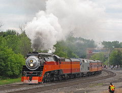 Now Arriving Durand. (GLC 392) Tags: durand mi lima super power smoke ge p42dc amtrak 37 southern pacific sp 4449 steam engine 484 northern daylight railroad railway train trainfest festival 2009