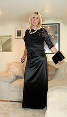 Long gown. (bethany_labelle) Tags: black satin gown lace formal long maxi ball dress tgirl
