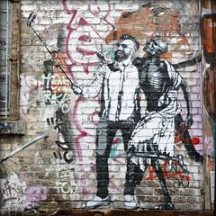 selfie with a starving man (piktorio) Tags: berlin germany streetart friedrichshain blackandwhite selfiestick man death hipster wallpainting mural raw bricks facade piktorio skeleton critical racism cultureclash oneworld sensation