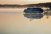 Foggy Pontoon Reflections (matthewkaz) Tags: limelake lake water fog reflection reflections boat pontoon pontoonboat dock weather sunrise cedar maplecity leelanau summer michigan puremichigan 2017
