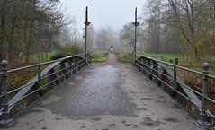 Bridge to the park of Hildburghausen and to the Queen Luise memorial (:Linda:) Tags: germany thuringia town hildburghausen park bridge lantern memorial mist metallicbridge