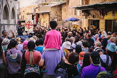 Friday procession by Nuuttipukki - Old City, Jerusalem
