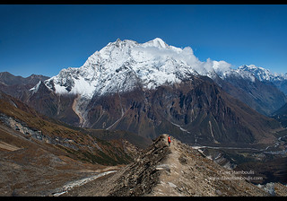 Looking out at the Kutang Himal on the Tibetan border from the Manaslu Basecamp trail, Nepal