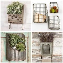 Galvanized Wall Buckets (Heath & the B.L.T. boys) Tags: galvanized metal wire basket twine fruit storage hooks corrugated